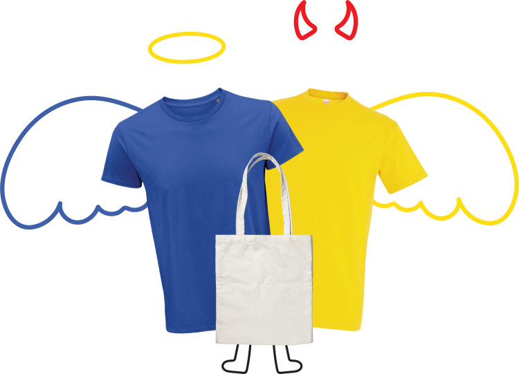 Αριστερά οργανικό μπλουζάκι με φωτοστέφανο δεξιά συμβατικό μπλουζάκι με κερατάκια στην μέση μια totebag